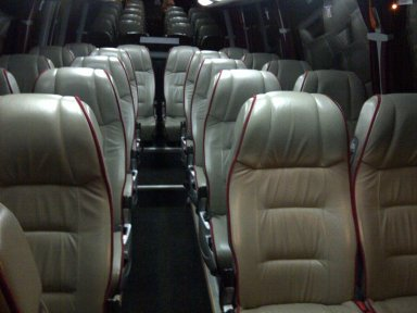 Inside a 22 seat mini-coach