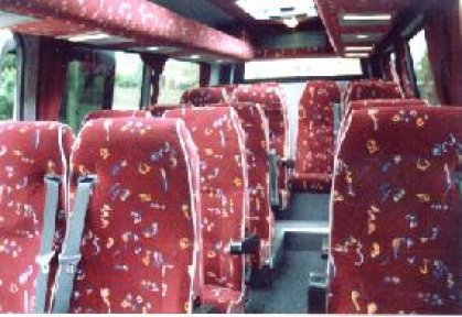 Inside a 16 seat mini-coach