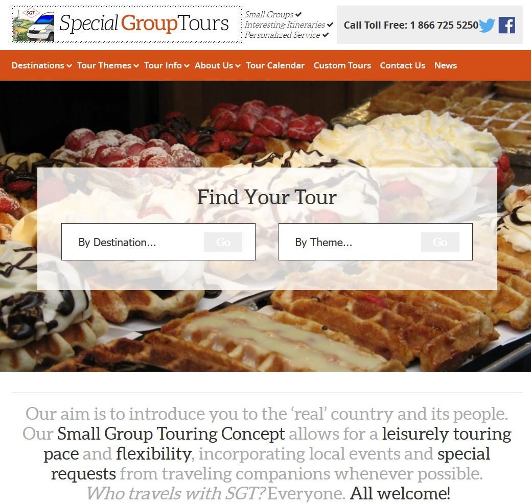 Special Group Tours 2018 Website and the new offer